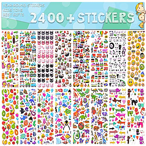 Stickers for Kids 2400+, 48 Sheets, Motorcycle Bicycle, Luggage Decal,Graffiti Patches Multiple Style Incentive Stickers for Teachers- No-Duplicate Sticker Pack]()
