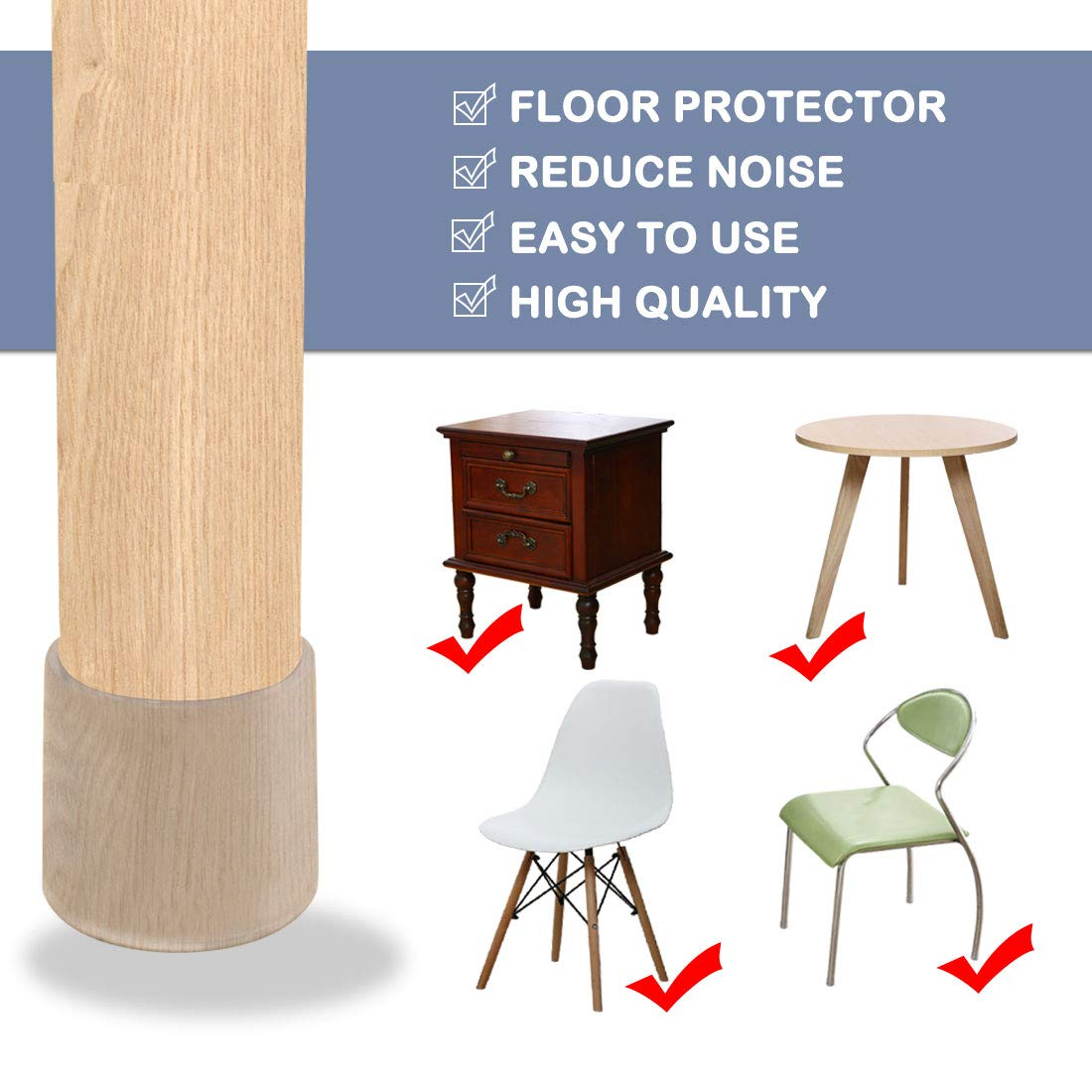 Reduce Noise Prevent Scratch uxcell Clear PVC Chair Leg Caps End Tip Feet Cover Furniture Glide Floor Protector 5pcs 1.5 38mm Inner Diameter