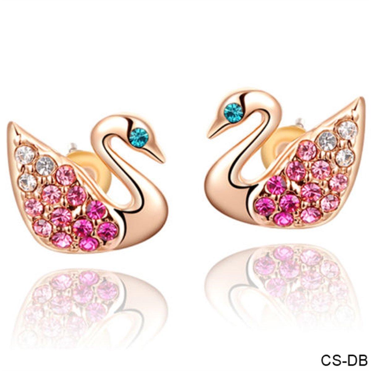 CS-DB 18K Rose Gold Plated Swarovski Pink Crystal Swan Stud Earrings Jewelry
