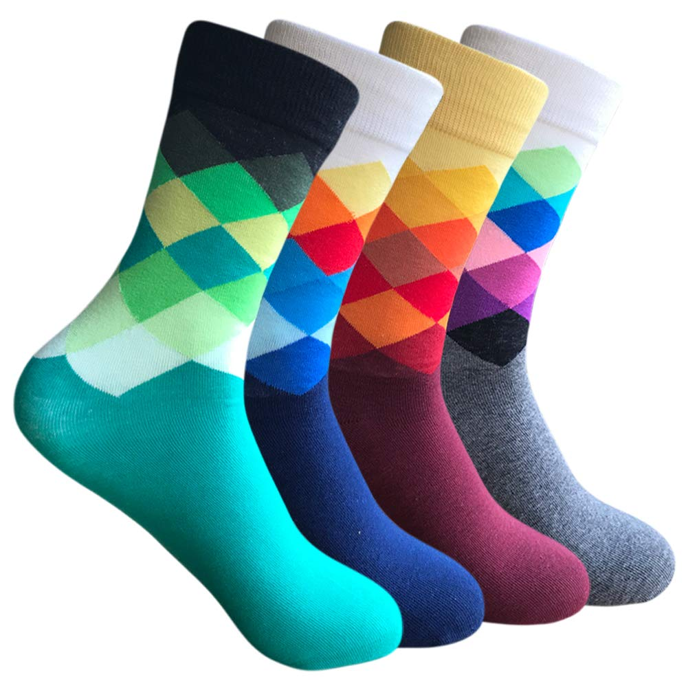 Mens Colorful High Dress Socks - Yoicy 4/6 Pack Argyle Rainbow Patterned Crazy Funny Casual Long High Fun Socks