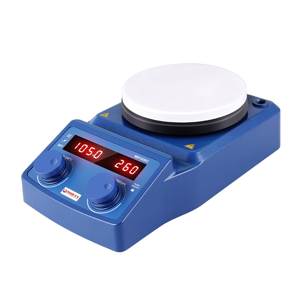 5 Inch LED Digital Magnetic Hotplate Stirrer - Four E's with Ceramic Coated Hotplate, 100-1500RPM, 5L, 600W - Benchtop Appliance for Scientific Research Clinics Classrooms Laboratory - US Plug by FOUR E'S SCIENTIFIC (Image #5)