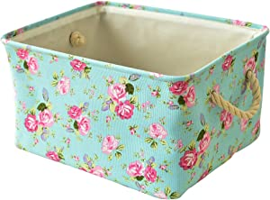 INough Floral Basket Storage Bins,Collapsible Storage Basket Toys Clothes Crafts Organizer, Fabric Laundry Baskets Storage Bin with Handle for Underbed Closet Cube(Medium, Floral)