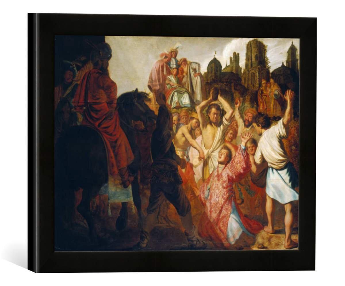 Gerahmtes Bild von Rembrandt Harmensz Van Rijn Die Steinigung des heilige Stephan, Kunstdruck im hochwertigen handgefertigten Bilder-Rahmen, 40x30 cm, Schwarz matt