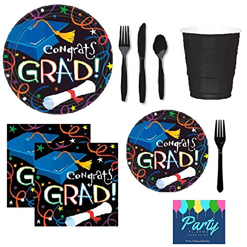 Hot Graduation Party Pack for 50 Guests - Dinner Plates, Dessert Plates, Napkins, Cups, & Cutlery supplier
