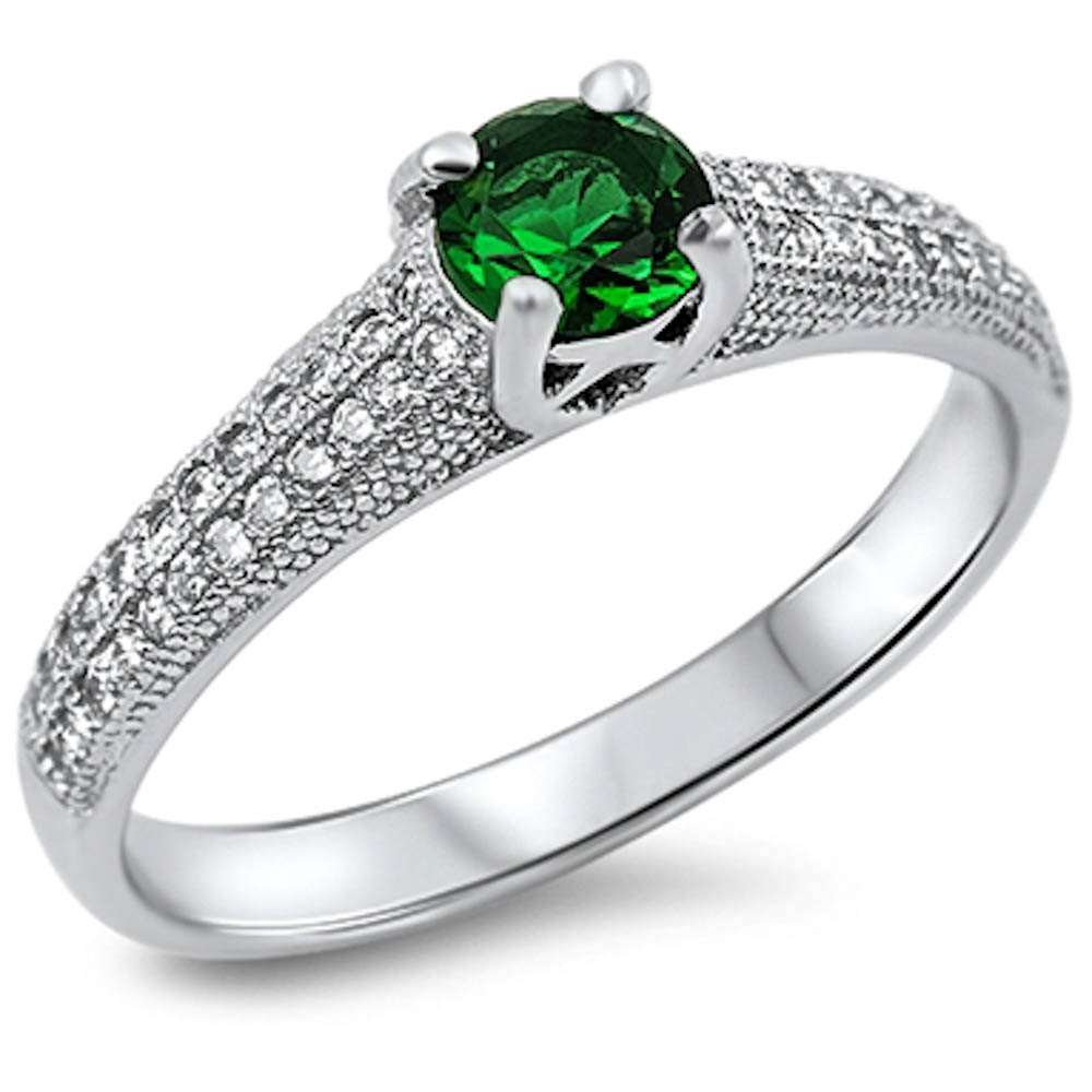 Simulated Green Emerald /& Pave Cubic Zirconia .925 Sterling Silver Ring Sizes 5-9