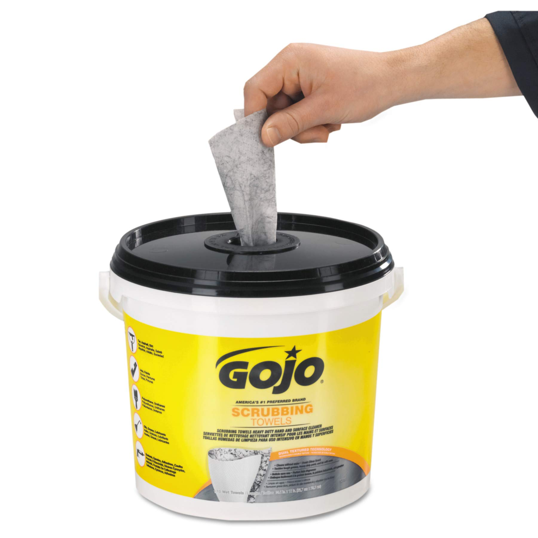 GOJO Scrubbing Towels, Fresh Citrus Scent, 170 Count Extra Large Dual Textured Wipes Bucket (Pack of 2) – 6398-02 by Gojo (Image #3)