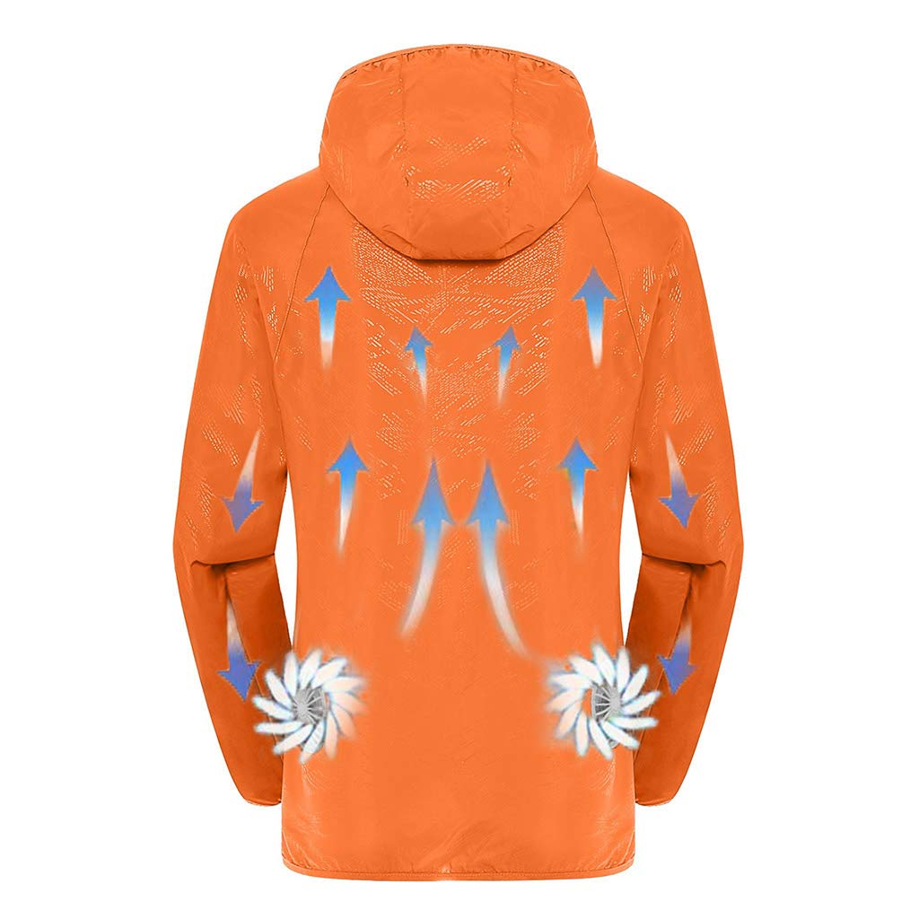 Jacket with Fans,Men's Hooded Air-Conditioned Clothes Outdoors Sports Jacket and Zipper (M, Orange)