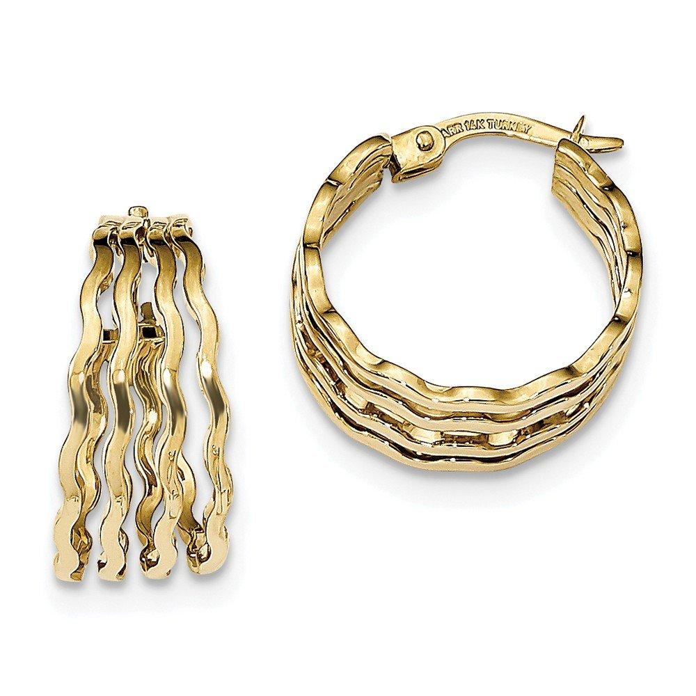 Mia Diamonds 14k Yellow Gold Polished 4-bar Wavy Hoop Earrings