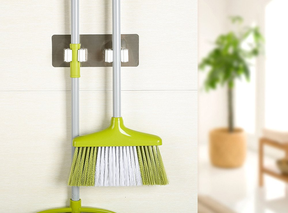 KNDDYY Broom Mop Holder Wall Mount Stainless Steel Wall Mounted Storage Organizer Heavy Duty Tools Hanger (A)