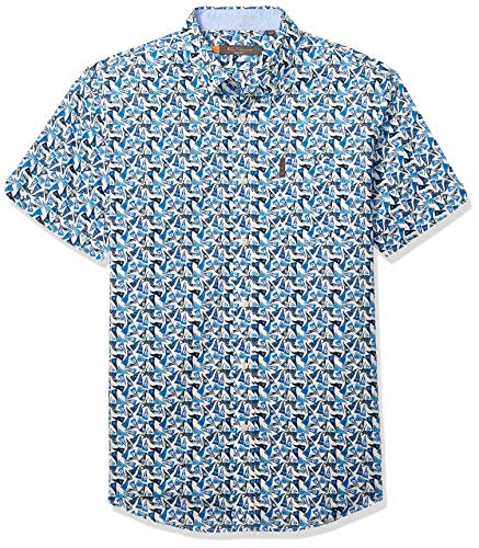 - Ben Sherman Men's SS Racing Flag PRNT Shirt, Snow White XXL