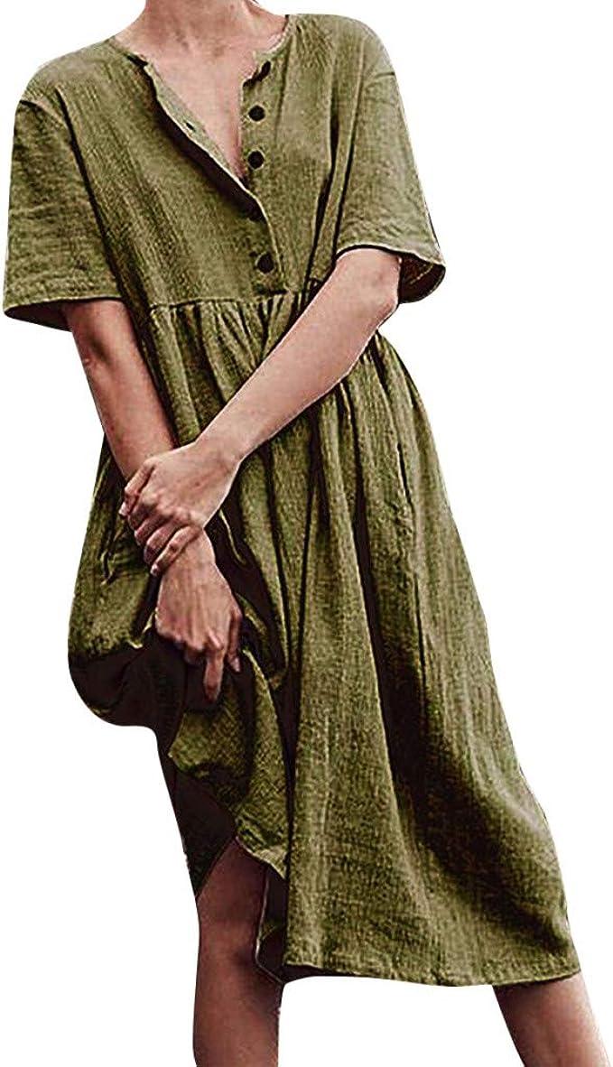 Damen Kleid Baumwolle Leinen Vintage Ethnisch Bestickt Locker Freizeit Lang Neu