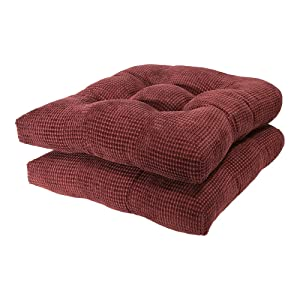 Arlee - Tyler Chair Pad Seat Cushion, Memory Foam, Non-Skid Backing, Durable Fabric, Superior Comfort and Softness, Reduces Pressure and Contours to Body, Washable, 16 x 16 Inches (Red, Set of 2)