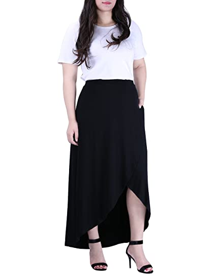1892e845a8 HDE Womens Plus Size High Waisted High Low Wrap Style Maxi Skirt with  Pockets