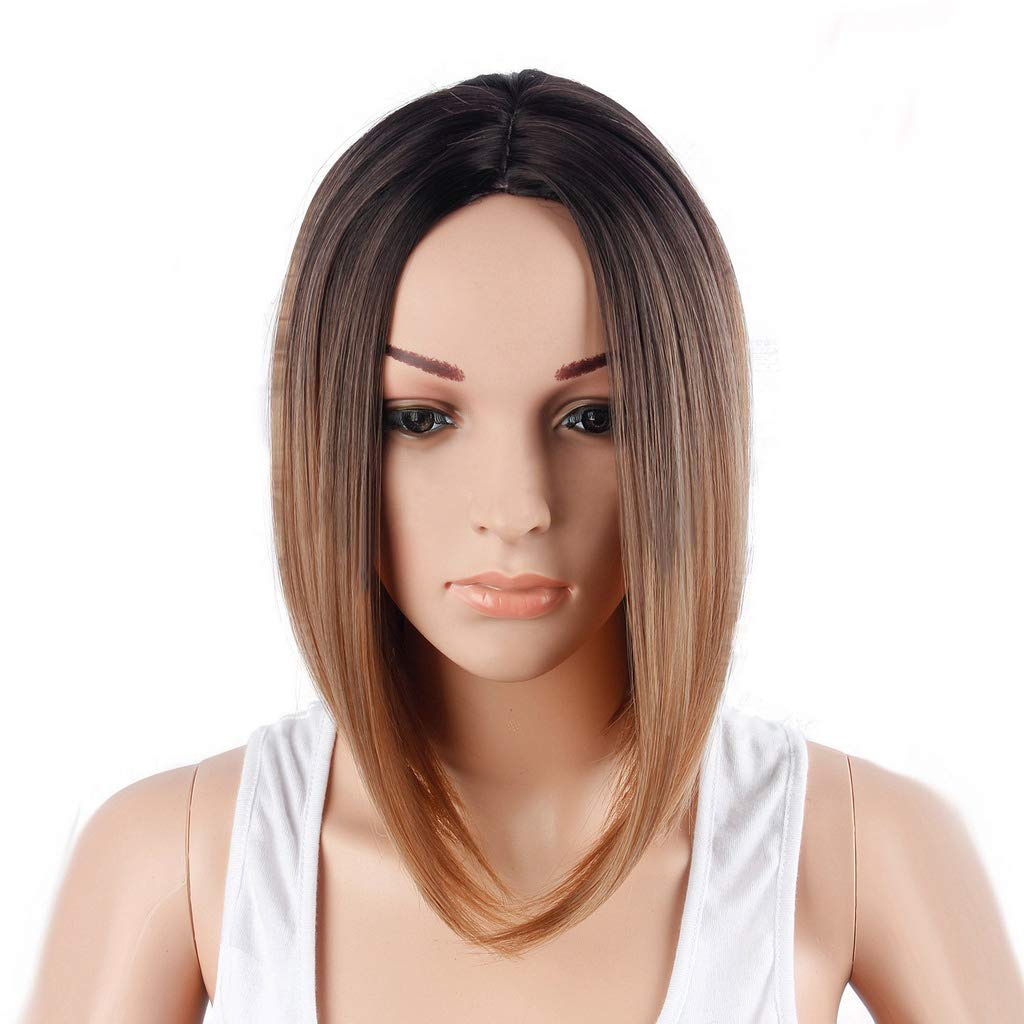 Amazon.com   LingTong Women s Ombre Short Straight Bobo Synthetic Wigs for  Women Daily Use (13inch 169de657fb