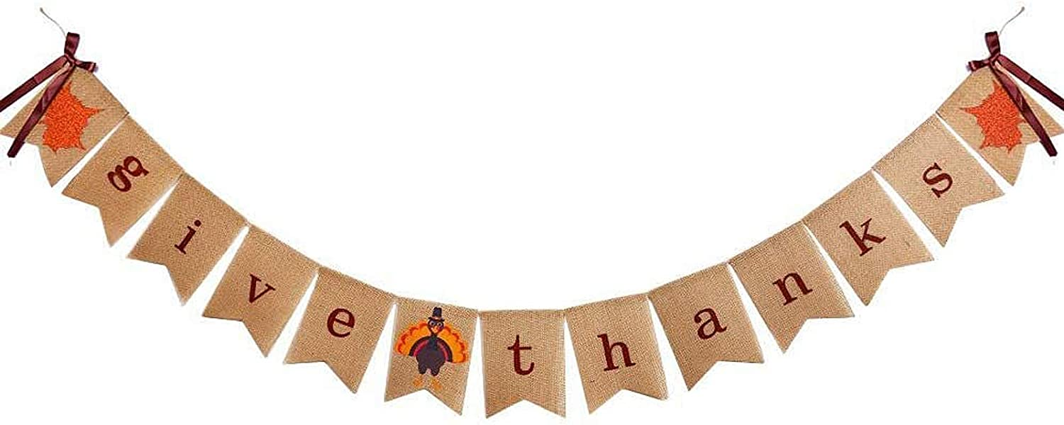 Give Thanks Burlap Garland Bunting Banner Happy Thanksgiving Day Friendsgiving Party Home Decoration