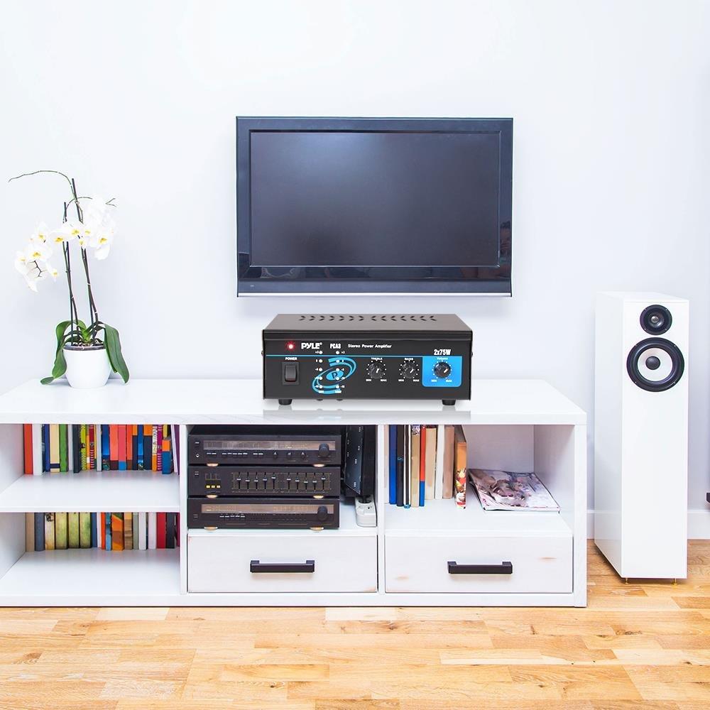 Amplificador de Audio Pyle PCA3 2.0 Canales, 75 W, 0,3/%, 75 dB, 23 W, 150 mV