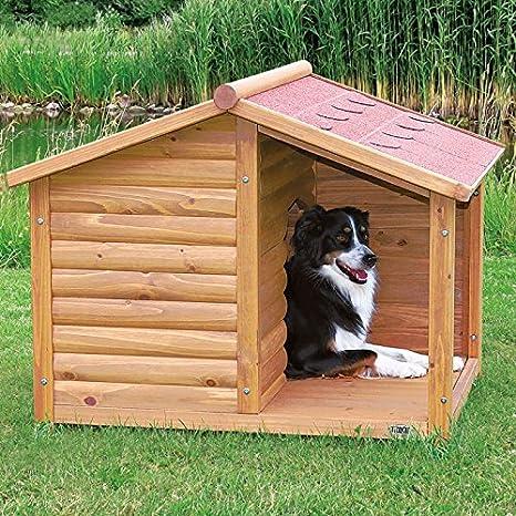 cuccia-baita para perros con terraza manta, hecha de madera de pino barnizada y muy resistente a bajas temperaturas y intemperie. smontata Alla reparto ...
