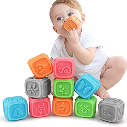 Soft Blocks for baby One Two Squeeze,10 Colorful/&Soft Building Blocks for Toddlers Animal,Textures /& Bunny Teething Chewing Toys,Bath Toys,Educational Baby Toys 6 Months /& Up with Numbers,Letter