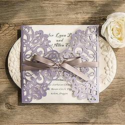 10 Kit/Pack Fold Wedding Cards Purple Flower Pattern Ribbons decoration Blank Inside Paper Lace Invitation Card Laser Cut Seal