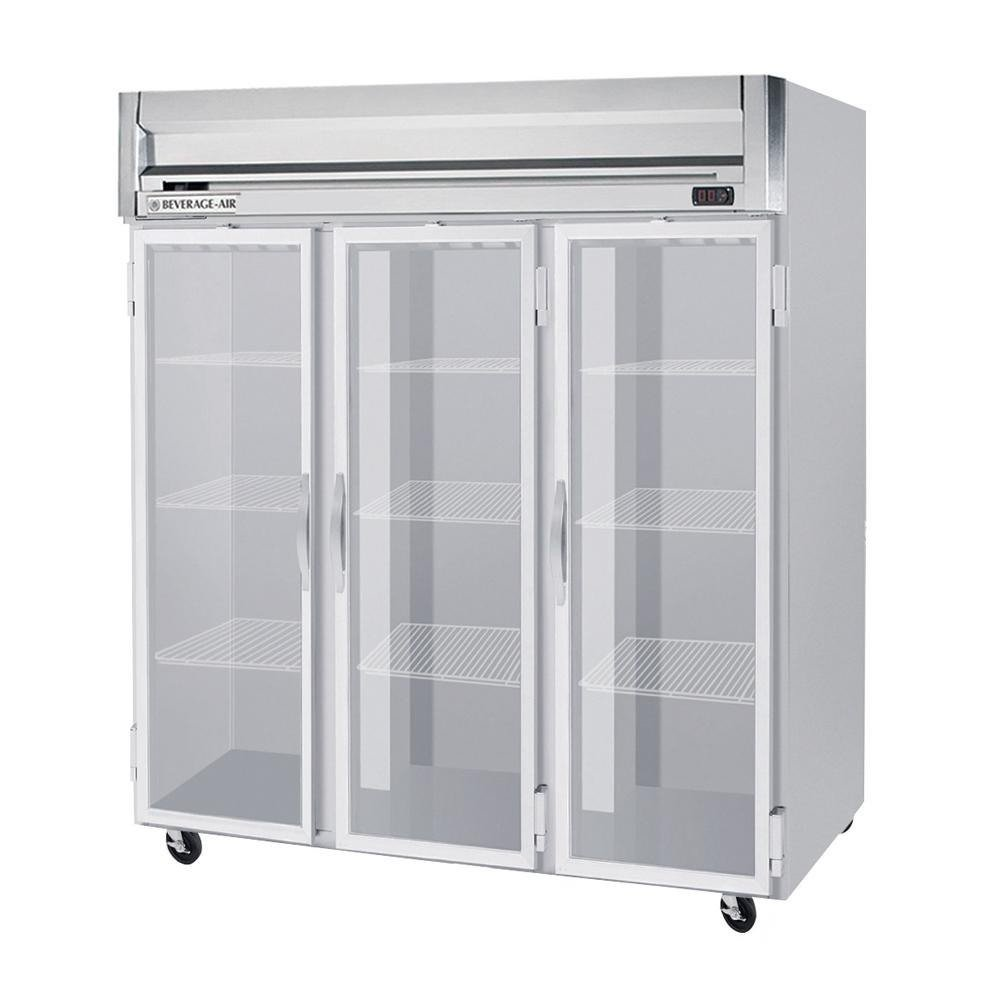 Beverage-Air HFP3-5G Horizon Series Three Section Glass Door Reach-In Freezer 74 cu.ft. Capacity Stainless Steel Front and Sides Aluminum