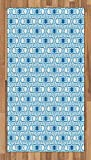 Arabian Area Rug by Lunarable, Old Historical Oriental Ancient Ottoman Artwork with Pattern of Stars Geometric Art, Flat Woven Accent Rug for Living Room Bedroom Dining Room, 2.6 x 5 FT, Blue White