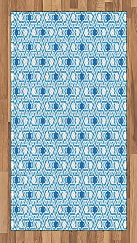 Arabian Area Rug by Lunarable, Old Historical Oriental Ancient Ottoman Artwork with Pattern of Stars Geometric Art, Flat Woven Accent Rug for Living Room Bedroom Dining Room, 2.6 x 5 FT, Blue White by Lunarable