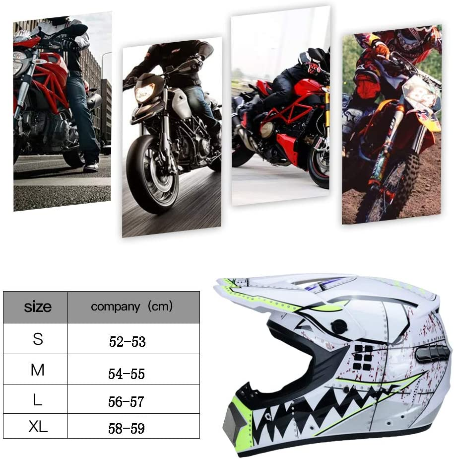 TKUI Motocross MX Casco Moto Cross caschi City caschi Moto Motocross caschi /& Guanti /& Occhiali di Protezione D.O.T Standard Bambini Quad Bike ATV Go-Kart Casco