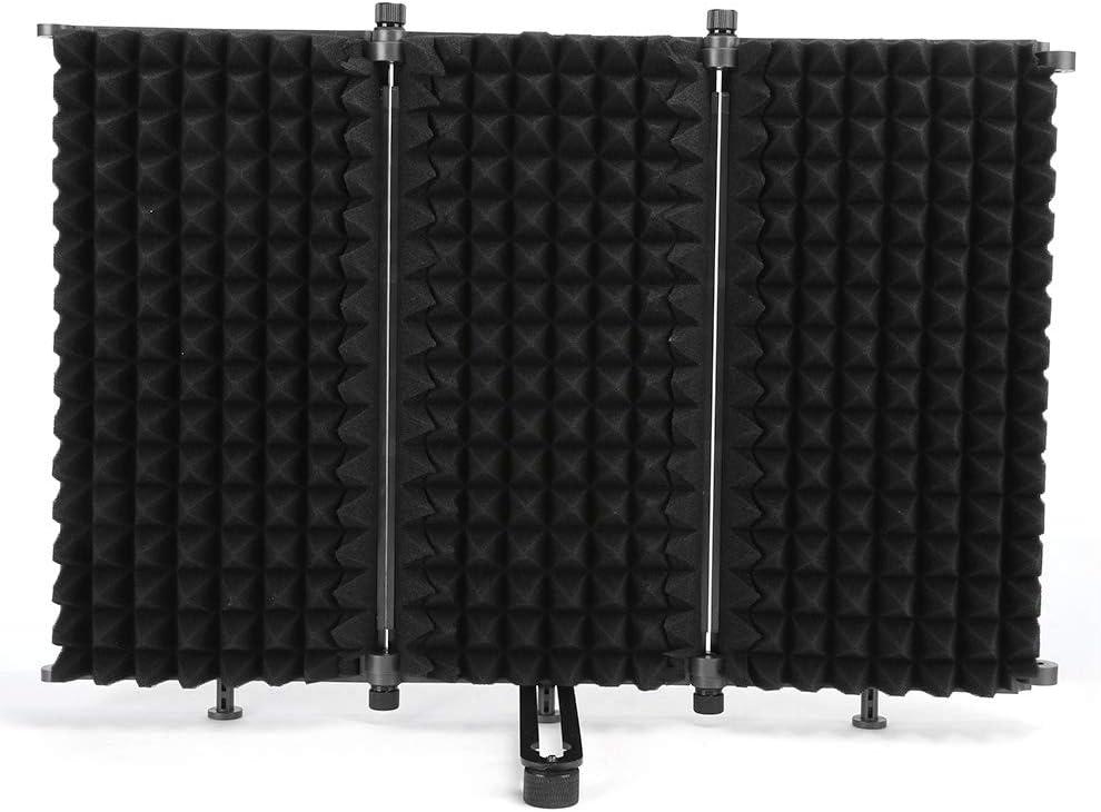 Pantalla insonorizada, reducción de ruido Ws-03 Micrófono portátil plegable Parabrisas de tres puertas Pantalla insonorizada portátil, algodón absorbente de sonido de alta densidad