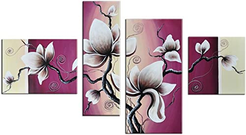 Noah Art-Rustic Floral Artwork, Tulip Flower Picture 100 Hand Painted Modern Oil Paintings of Flowers on Canvas, 4 Piece Framed Pink Flower Wall Art for Bedroom Wall Decor Ready to Hang