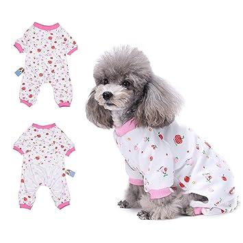 HongYH Pijama para perro, diseño de cereza, cómodo pijama para cachorro, suave,