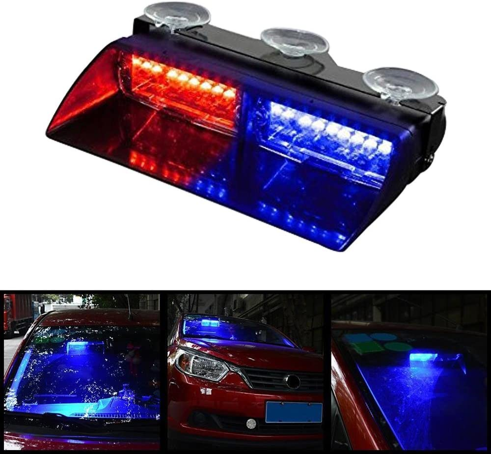 Dash Windshield With Suction Cups TM Red /& Blue 16 LED High Intensity LED Law Enforcement Emergency Hazard Warning Strobe Lights 18 Modes for Interior Roof niceEshop