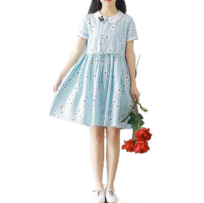 Dunland Vestido para Mujer Fresco suelto y fino bordado impresión Moderno Sin Hombros Azul claro 34