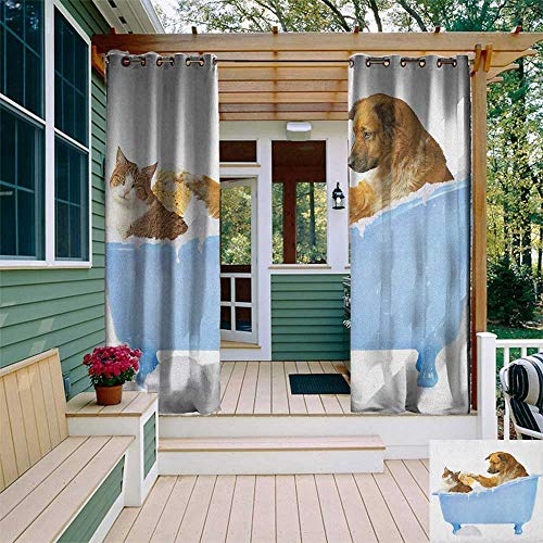 leinuoyi Cat, Outdoor Curtain Set of 2 Panels, Dog and Kitty in The Bathtub Together with Bubbles Shampooing Having Shower Fun Artsy Print, Outdoor Privacy Porch Curtains W120 x L96 Inch Multi