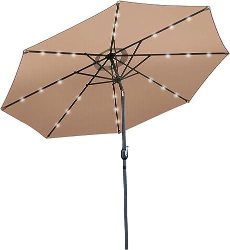 SUPER DEAL 10FT Solar LED Lighted Patio Umbrella Table Umbrella