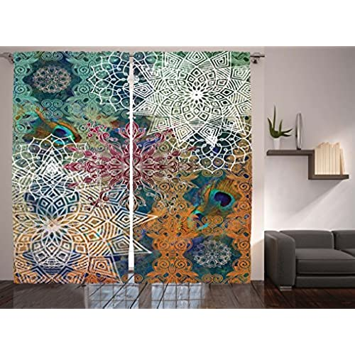 ... Medallion Damask Star Patchwork Octagon Peacock Feather, Living Room  Bedroom Curtain 2 Panels Set, 108 X 84 Inches, Orange Teal White
