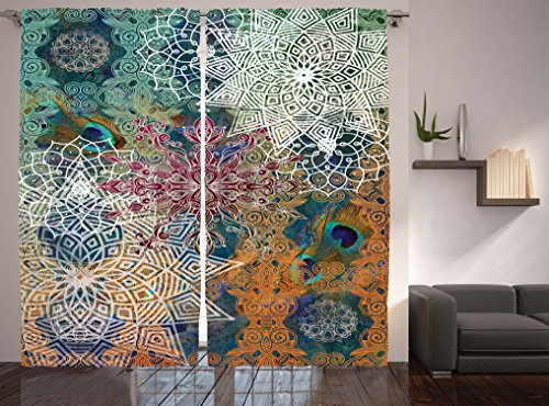 Mandala Curtains Bohemian Hippie Yoga Decor by Ambesonne, Medallion Damask Star Patchwork Octagon Peacock Feather, Living Room Bedroom Curtain 2 Panels Set, 108 X 84 Inches, Orange Teal White