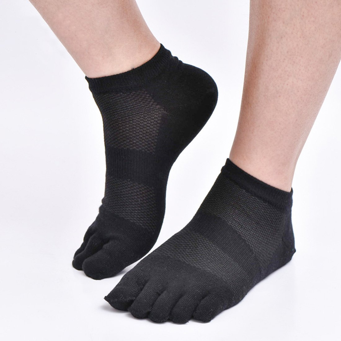 Aieoe - Calcetines de Dedos para Hombres Pack de 6 pares de Algodón Absorbente Transpirable Finos para Verano Deportes - Blanco: Amazon.es: Ropa y ...