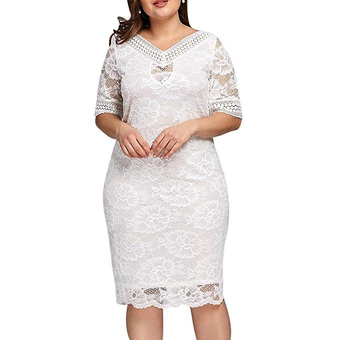 Amazon.com: Women Lace Bodycon Dress, Lady Fashion Plus Size ...