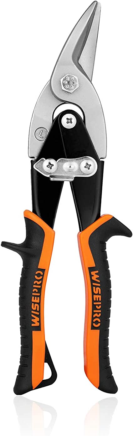 WISEPRO Offset Aviation Snips Tin Cutting Shears Left//Right Aviation Snips for Aluminum,Vinyl,Sheet Metal,Leather,Copper