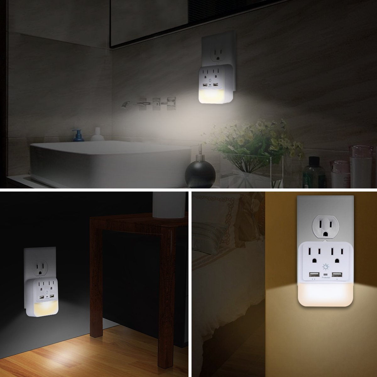 USB Wall Charger, Outlet Adapter, POWRUI 2-Pack Surge Protector(1080 Joules) Dual USB Charger Ports(2.4A Total), Dual Outlet Extender Dusk-to-Dawn Sensor Night Light, White, ETL Certified by POWRUI (Image #6)