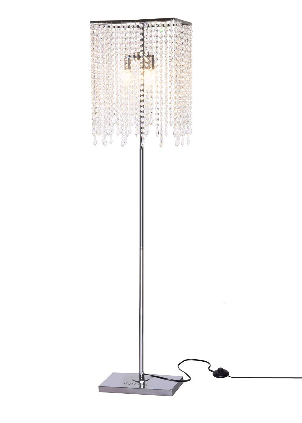 GDLMA Crystal Floor Lamp for Bedroom,Living Room,3-Lights,15 FT Long Cord with On/off Switch in Line,Chrome Silver