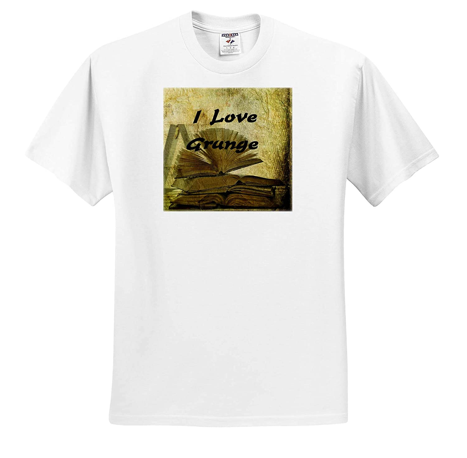 I Love Books ts/_312620 3dRose Lens Art by Florene Adult T-Shirt XL Image of I Love Grunge On Pile of Grungy Books
