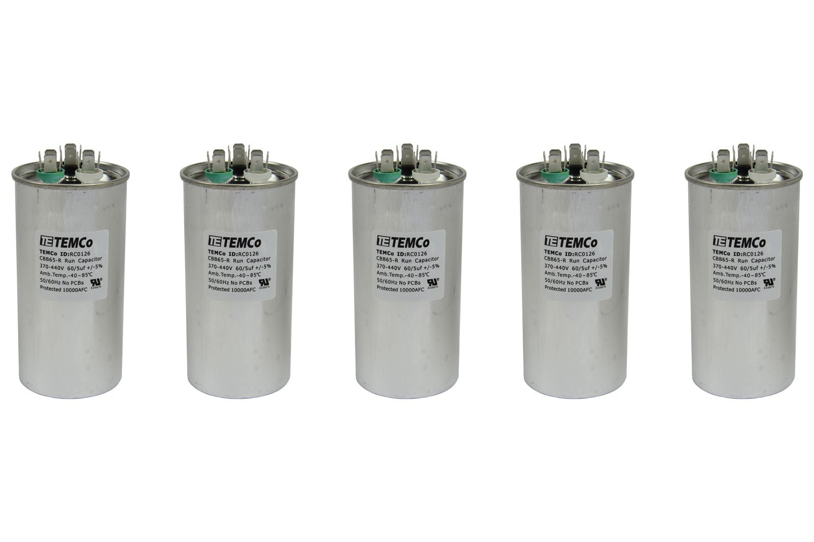 TEMCo 5 LOT Dual Run Capacitor RC0127-60/5 mfd 370 V 440 V VAC volt 60+5 uf AC Electric Motor HVAC