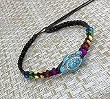 LAVIP Leather Anklet or Bracelet Blue Turtle Hemp Bracelet Turquoise Color Hawaiian Sea Cord Bracelet Rainbow Hemp (Black, 9)