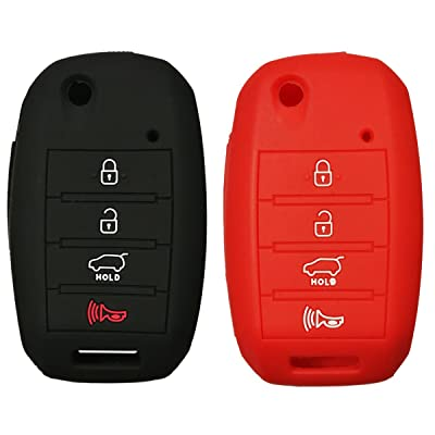2Pcs Coolbestda Rubber 4buttons Key Fob Protector Case Cover Keyless Entry Holder Skin Bag for Kia Sorento Sportage Rio Soul Forte Optima Carens Black Red (Not Fit Smart Key Fob): Automotive