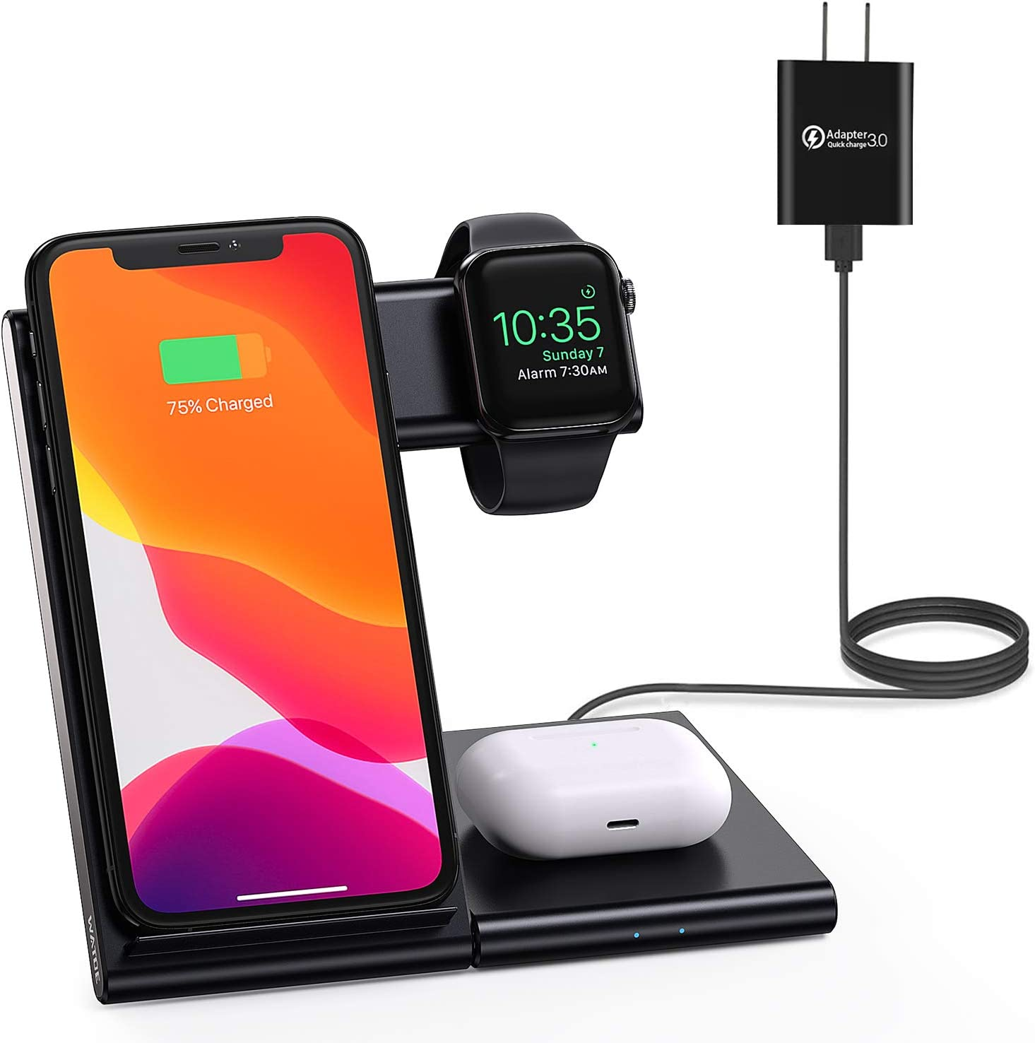 WATOE Wireless Charger 3 in 1 Qi-Certified Fast Charging Station,Compatible iPhone SE/11/11 Pro/X/XS/XR/Xs Max/8 Plus,Charging Stand for AirPods Pro/2, Compatible Apple Watch Series 6/5/4/3/2/SE