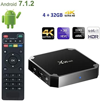TV Box x96 Mini Android 7.1.2 Smart Box Quad Core 2.4 G WiFi 4 K HD 4GB RAM 32 GB ROM Soporte vp9 hevc cw322: Amazon.es: Electrónica