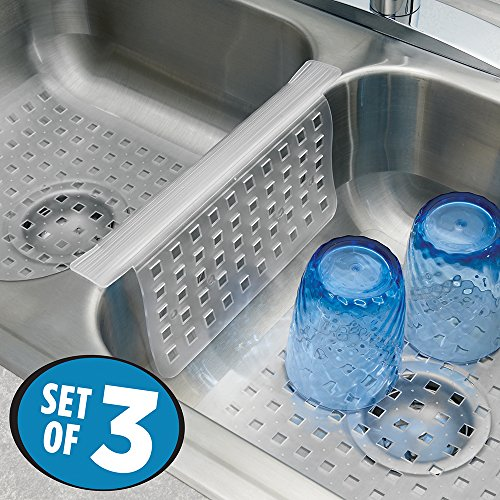 mDesign Kitchen Sink Protector Mat Pad Set, Quick Draining - Use In Sinks to Protect Surfaces and Dishes – 3pc Combo Set includes 1 Sink Saddle, 1 Large Sink Mat, 1 Regular Sink Mat - Set of 3, Clear