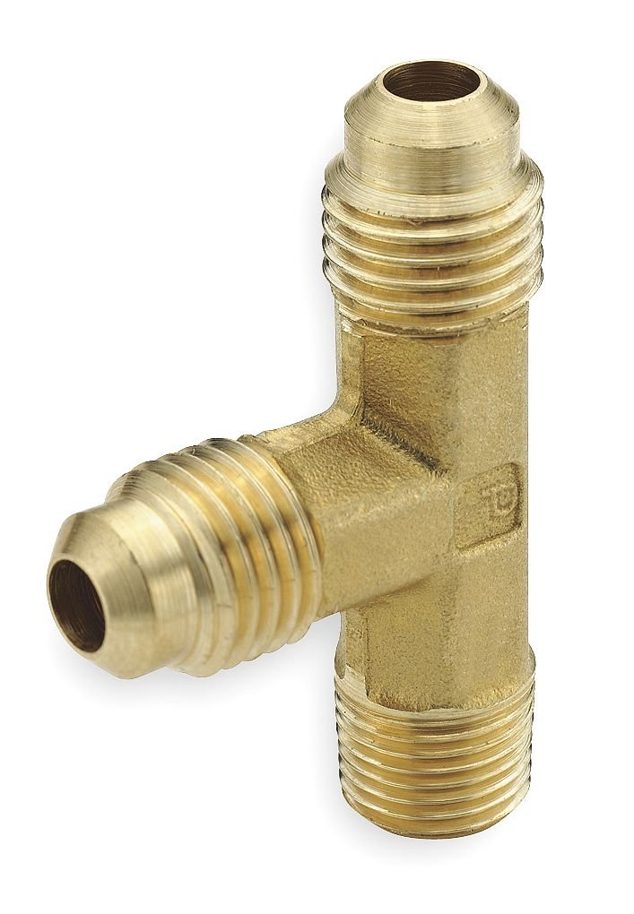 1//4 Flare Tube x 1//8 Male Thread 45 Degree Flare Fitting Parker Hannifin 151F-4-2-pk5 Brass Male Run Tee Pack of 5