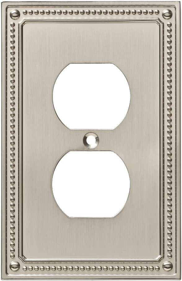 Franklin Brass W35059-SN-C Classic Beaded Single Duplex Wall Plate/Switch Plate/Cover, Satin Nickel - -